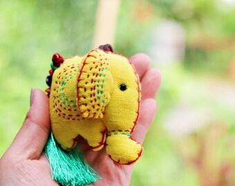 Elephant keychain, Hand stitched elephant keychain, Elephant embroidery, Holiday gift