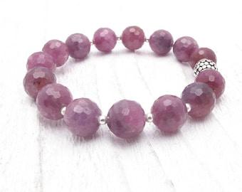 Valentine gift, ruby bracelet, July birthstone, luxury bracelet, gemstone bracelet, ruby jewelry, silver, romantic gift for her