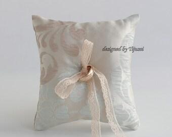 Beige/light blue ornamental wedding ring bearer pillow, ring bearer pillow, wedding pillow , ring bearer, ring cushion-ready to ship