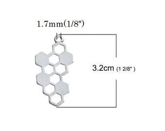 Set of 3 charm pendant socket (B66) silver silver honey bee hive