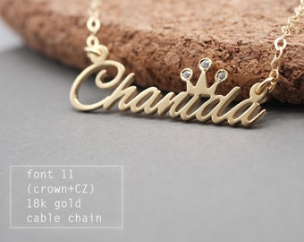 Personalized Name Necklace with CZ stone-Custom Name Necklace-Custom Name Gift-Bridesmaids Jewelry-Children Names-Gift for mom. #NF11C