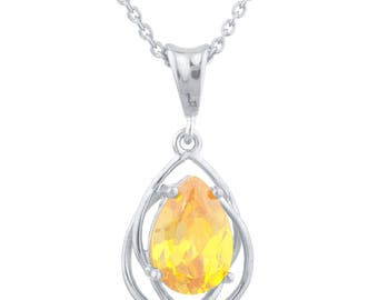 2 Ct Yellow Citrine Pear Teardrop Design Pendant .925 Sterling Silver