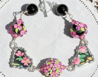 Broken China Jewelry, Bracelet, Handmade Lampwork Beads, Black Floral Chintz