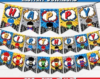 Superhero Super Hero / Banner / Instant Download / Party Printable / Happy Birthday / Boys Boy
