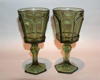 """8405: Vintage Fostoria Virginia SET 2 Green 6"""" Wine Beverage Glasses Goblets at Elegant Glass at Vintageway Furniture"""