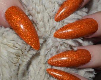 Orange Holographic Fake Nails, Extra Long Stiletto False Nails, Hand Painted Nails Press On Nails, Extra Long Nails, Nail Designs, 20 Nails