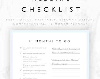 Wedding to do list etsy wedding checklist printable 12 month wedding planning checklist wedding to do list wedding junglespirit Gallery