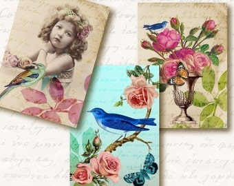 Eden Atc Aceo Tags, Digital Collage Sheet, Download and Print Jpeg Images