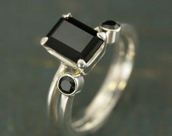 Onyx Bridal Set~Onyx Ring~Alternative Engagement Ring~Alternative Wedding Set~Black Onyx Accent Band--Open Band--Open Ring--Gothic Ring Set