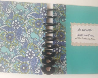 Disc Bound Planner Cover, Stationery, Classic Cover size 7.75 x 9.75 inches, Motivational Saying, Paisley, Handmade, Laminated Cover