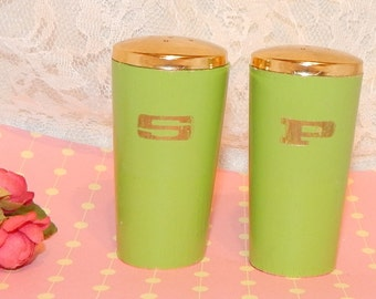 Vintage Wood Salt and Pepper Shakers painted green with S and P in Gold, Golden Metal Tops, and plastic Stoppers