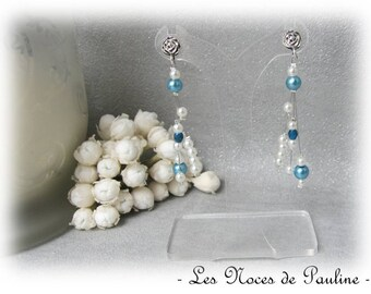 Blue earrings teal and ivory asymmetric Katell