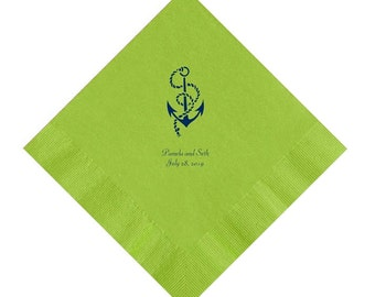 Anchor Wedding Napkins Personalized Set of 100 Napkins Nautical Beach Wedding