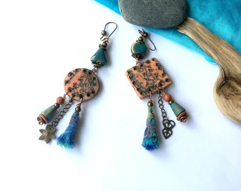 Boho Earrings,Ethnic,Cuzco,Tribal,Hippie Earring,Bohem Earrings,Rustic,Shamanic Earrings,Bohemian Earrings,Ethnic Earring,Asymmetric earring