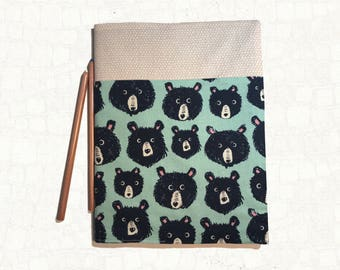 Refillable Journal Cover - Composition Book cover - Cotton + Steel - Sarah Watts Fabric - Bear - Blue