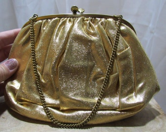 Vintage Gold Purse with Coin Purse and Mirror, Ingber Best and Co New York, Metallic Gold, Silky Soft
