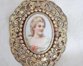 Large Vintage filigree Portrait Brooch
