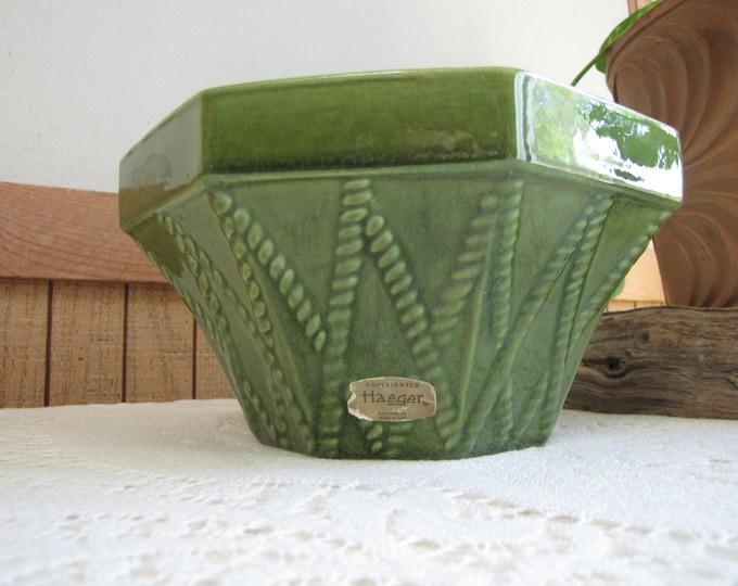 Haeger Green Octagon Planter Vintage Planters and Pots #834 U.S.A.