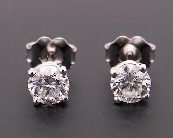 Dazzling 14k White Gold .86ct Round Brilliant Cut Diamond Stud Earrings EGL Certified