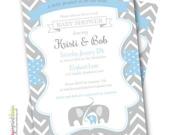 Printable A little peanut is on the way! Vintage Chevron Co-Ed Family Elephant Baby Shower Invitation DIY (PDF or JPEG)