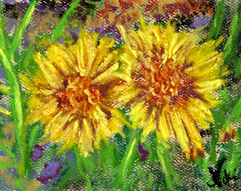 Bright Floral Miniature Pastel Painting Textured Sunny Flowers by Niki Hilsabeck