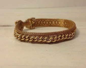 Vintage Sarah Coventry Gold Tone Metal Mesh Bracelet