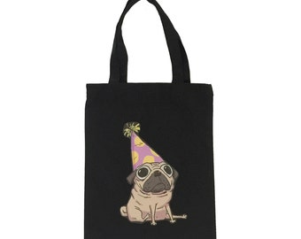 01 Tote Bag-Black ( Pug Design)