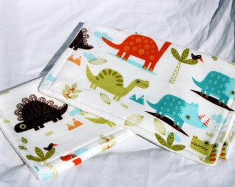 Baby Burp Cloth Soft Minky/Cotton - One Of A Kind- Dinosaurs and Birds with Trees and Plants