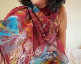 nuno felted scarf -Nostalgia- reserved for Leslie