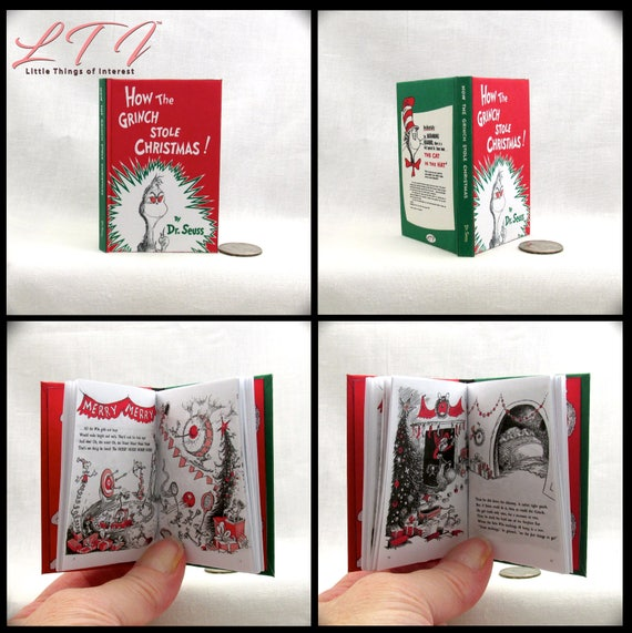 How The GRINCH STOLE CHRISTMAS Book in 1:3 Scale Readable Book Dr. Seuss American Girl Accessories Dr Seuss 18 inch Ag Doll 1/3 Scale