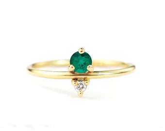 Emerald and Diamond May Birthstone Mother's Ring | Eco-Friendly Stones 14k Recycled Gold | Minimal Modern Birthstone Mother's Ring
