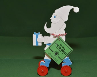 Santa Claus Toy on Wheels Vintage Style 3D Printed Plastic Holiday Christmas White Blue