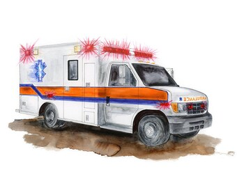 Boy Nursery Decor - Ambulance Wall Art - Emergency Truck Print - Kids Room Decor - Truck Nursery - Ambulance Print - Baby Boy Room - Rescue