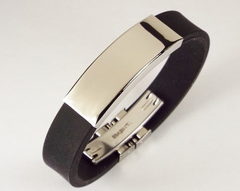 Personalized Jewelry Custom Engraved Black Silicone Rubber and Stainless Steel ID Bracelet 8 Inch  - Hand Engraved