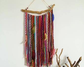 Yarn wall hanging, Bohemian Decor, Boho Garland, Wall Tapestry, Yarn Mobile, Boho Gypsy wall hanging, Unusual wall decor, tapestries