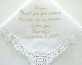 Ivory Mother of the Groom Wedding Hankerchiefs, Wedding Hankies, Hankerchiefs for Bridal Party, hankerchiefs, moms handkerchief