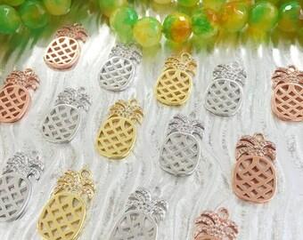 Pineapple, Brass CZ Pineapple Charm, Fruit Charm, Pineapple Pendant, Gold Plated Pineapple, Pineapple Charms, Silver Pineapple, Jewelry