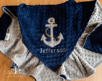 Anchor Personalized Minky Baby Blanket, Nautical Appliqued Baby Blanket, Nautical Minky Baby Blanket, Nautical Baby Blanket