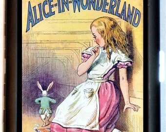 Alice in Wonderland Cigarette Case Storybook Lewis Carroll White Rabbit Illustration Art ID Business Card Credit Card Holder Wallet