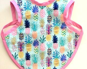 "Apron Bib - ""Bapron"" - Baby Girl Colorful Pineapple Bib"