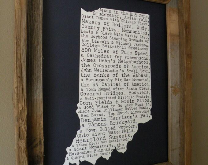 Indiana In A Nutshell Word Art Map Print (Dark Blue) - Unframed