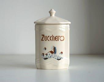 Vintage 1930s glazed earthenware sugar canister, Italian Laveno ceramic jar
