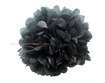 Black Tissue Paper Pom Pom 1 Small 6 inch Tissue Paper Flowers For Wedding Nursery Shower Party Decoration