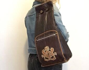 Vintage Leather Backpack, Sling Bag, 70s BOHO, Gypsy, Embroidered Hippie Bag Leather embroidery Griffin Crest, Lion Ethnic Bag, Shoulder Bag