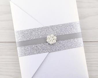 SAMPLE * Oscar Pocketfold with Glitter Belly Band Wedding Invitation