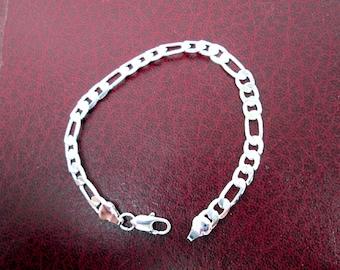 Simple Silver Link Bracelet Plain Silver Chain Bracelet Men Women Bracelet Simple Silver Bracelet Graduation Gift Birthday Gift Anniversary