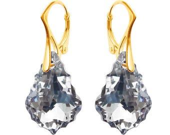 Swarovski earrings, Gold plated Silver earrings, Baroque earrings, Baroque 22mm, Crystal CAL