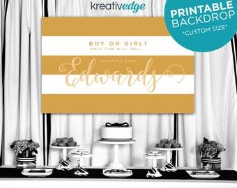 White & Gold Stripe Backdrop Banner Design **Custom Size** for Birthday, Wedding, Engagement, Baby Shower, Party - Printable File