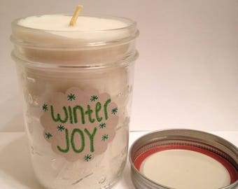 50% off sale! Winter Joy Scented Soy Candle. Vanilla, Peppermint, Cookie Candle. 8 ounce Mason Jar. Handmade in Colorado.