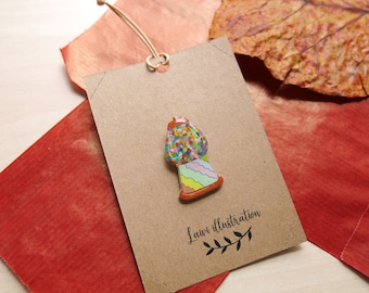 Gumball Machine  Pin // Resin Shrink Plastic Pin // Handmade Colourful Brooch // Candy Pin